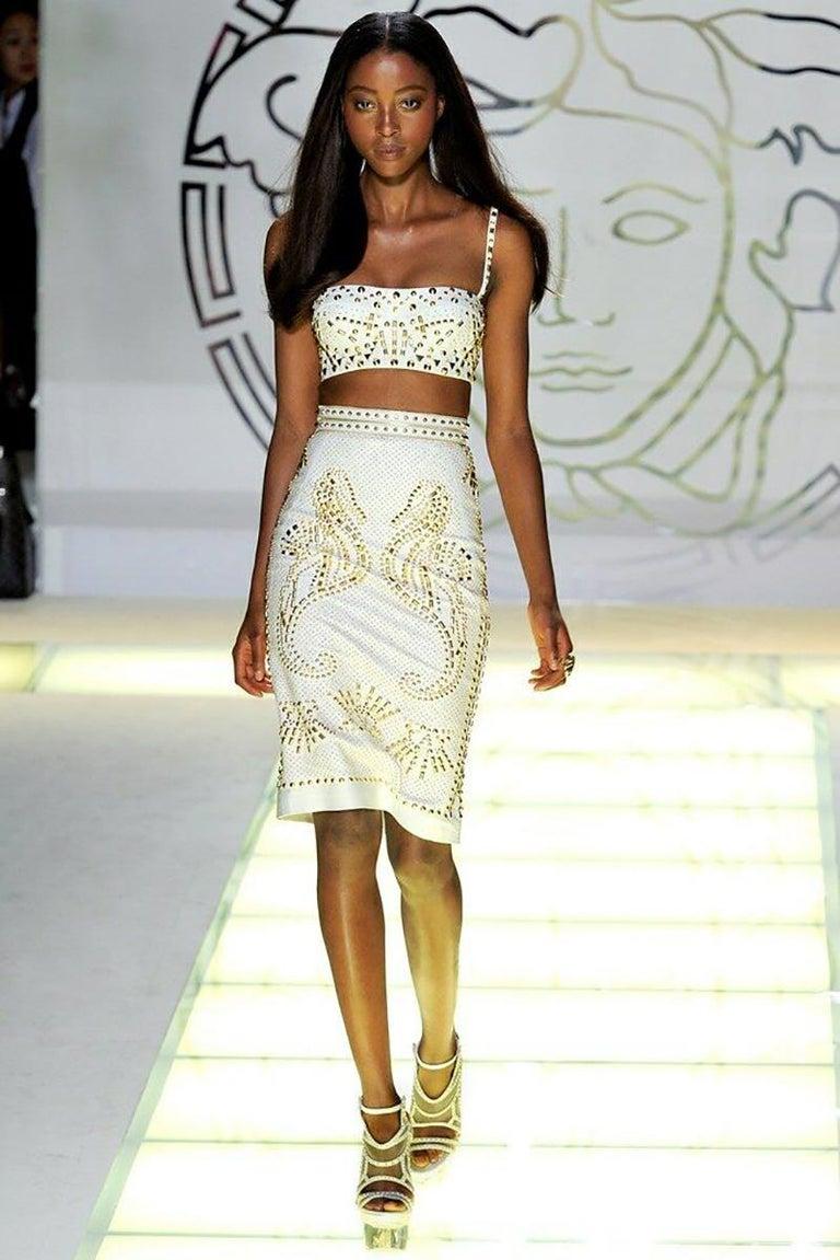 Women's S/S 2012 Look #2 Versace Runway Crystal Embellished Belt For Sale