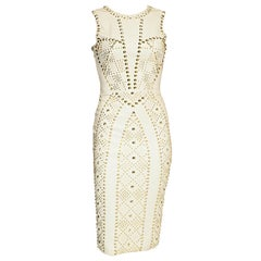 S/S 2012 look #27 VERSACE WHITE STUDDED EMBELLISHED LEATHER DRESS 38 - 2
