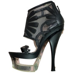 S/S 2012 look# 34 NEW VERSACE BLACK LEATHER MESH PLEXIGLASS PLATFORM BOOTS