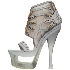 S/S 2012 look #40 VERSACE STUDDED LEATHER MESH-PLEXIGLAS PLATFORM BOOTIES
