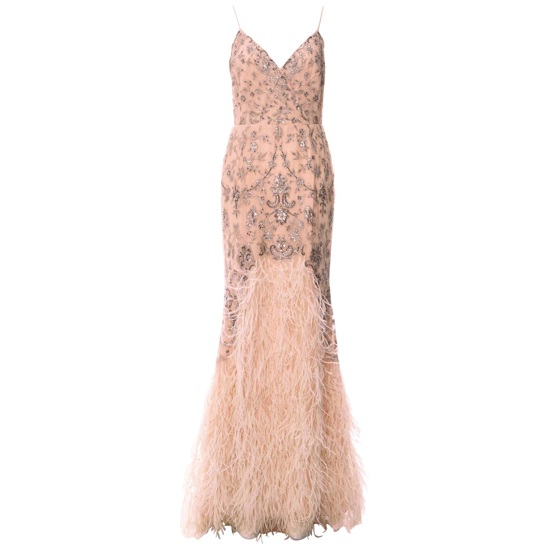 S/S 2012 Look #47 OSCAR DE LA RENTA EMBELLISHED NUDE GOWN with FEATHERS