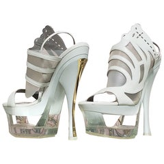S/S 2012 NEW VERSACE WHITE LEATHER and PLEXIGLAS - PLATFORM SHOES 40-10, 41-11
