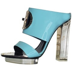 S/S 2015 look #29 VERSACE TEAL PLEXIGLASS PLATFORM Sandals