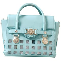 S/S 2015 look # 9 VERSACE PERFORATED PATENT BLUE LEATHER BAG