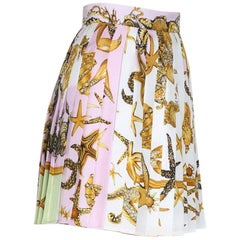 S/S18 L# 36 VERSACE TRESOR DE LA MER SILK TWILL MINI SKIRT in MULTICOLOR 38 - 2