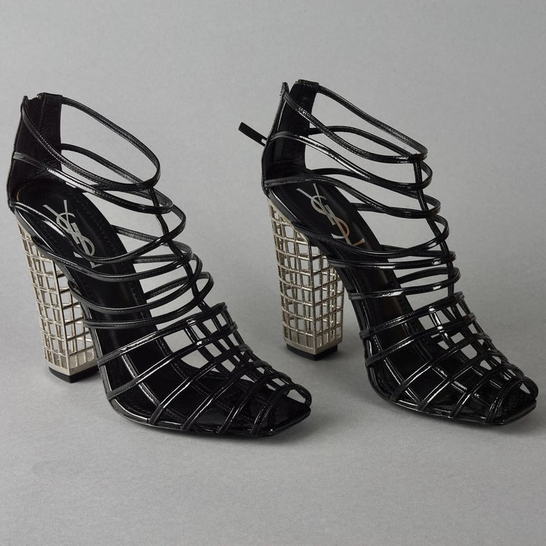 Black S/S2009 YVES SAINT LAURENT Ysl Cage Heel Ankle Boots For Sale