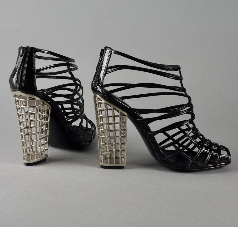 S/S2009 YVES SAINT LAURENT Ysl Cage Heel Ankle Boots In New Condition For Sale In Kingersheim, Alsace