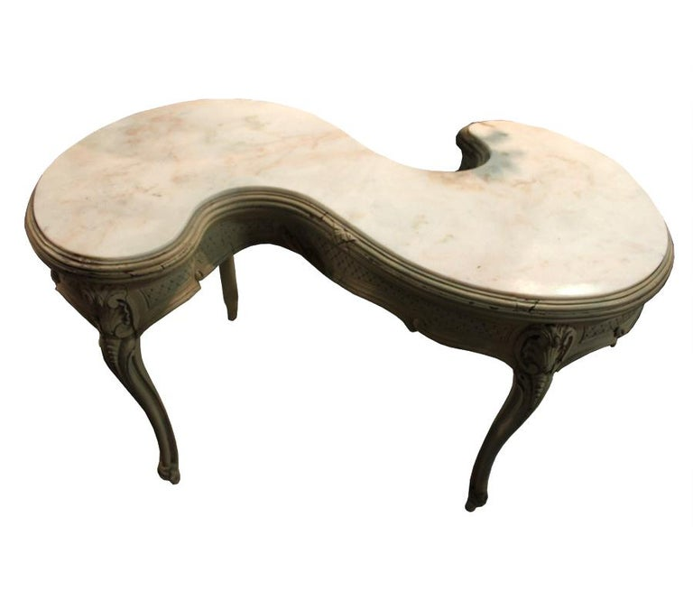 S' Shaped Antique 19th Century French Marble-Top Table In Good Condition For Sale In Tetbury, Gloucestershire