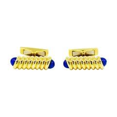 S. T. Dupont 18 Karat Yellow Gold and Lapis Lazuli Cufflinks