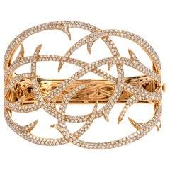 S. Webster 7.71 Carat Diamond 18 Karat Gold Fancy Branch Wide Bangle Bracelet