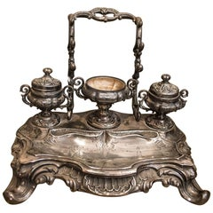 S XIX Luis XV silver French writing desk circa 1840, silver and cristal signed