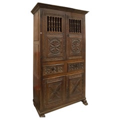 S XVII Carved Walnut Spain Buffet with Iron Handles S XVII Aragonesa School