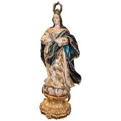 S XVIII, Andalusische Schnitzerei, Unbefleckte Jungfrau, vergoldet und bemalt