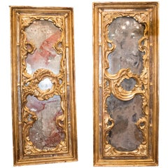 S xviii Gilded and Carved Wood and Painted Crystals  French of Pair of Panels