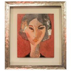 S XX Expesionist  style Spanish Lady in red  oil on canvas signed M.Vicario