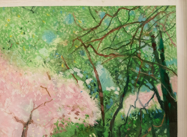 Hand-Painted 20th Century Painting Green Pink Mixed Technique on Paper  For Sale