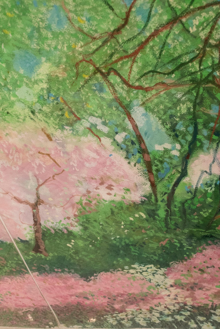 20th Century Painting Green Pink Mixed Technique on Paper  In Good Condition For Sale In Valladolid, ES