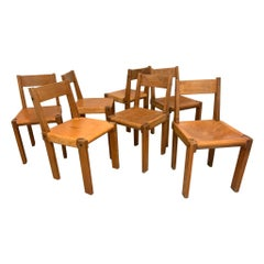S24 Solid Elm and Cognac Leather Chairs by Pierre Chapo