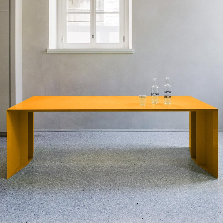 Italian 21st Century S3 Laquered Iron Dining Table / Desk Green Blue Yellow Silver Pink For Sale