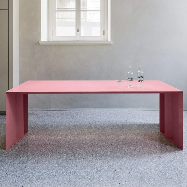21st Century S3 Laquered Iron Dining Table / Desk Green Blue Yellow Silver Pink In New Condition For Sale In Roma, IT