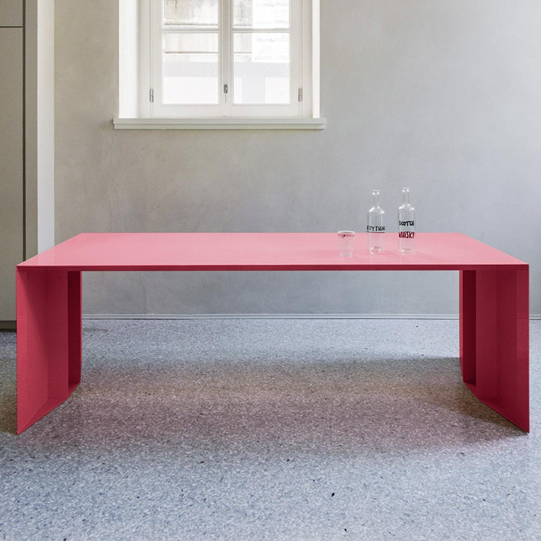 Contemporary 21st Century S3 Laquered Iron Dining Table / Desk Green Blue Yellow Silver Pink For Sale
