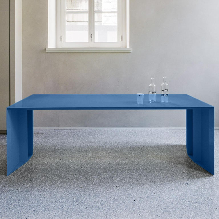 21st Century S3 Laquered Iron Dining Table / Desk Green Blue Yellow Silver Pink For Sale 1