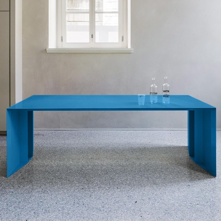 21st Century S3 Laquered Iron Dining Table / Desk Green Blue Yellow Silver Pink For Sale 2