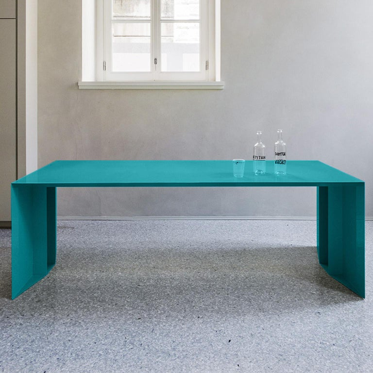 21st Century S3 Laquered Iron Dining Table / Desk Green Blue Yellow Silver Pink For Sale 3