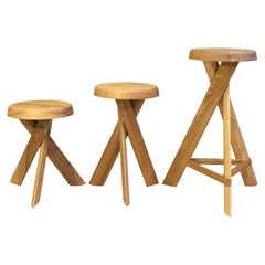S31A Tabouret Rond Bas Stool by Pierre Chapo, France