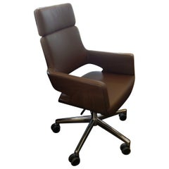 S845 Thonet Executive Swivel Brown Leather Armchair on Casters
