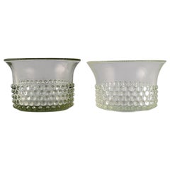 Saara Hopea for Nuutajärvi, Two Bowls in Art Glass, Budded Design, 1960s-1970s
