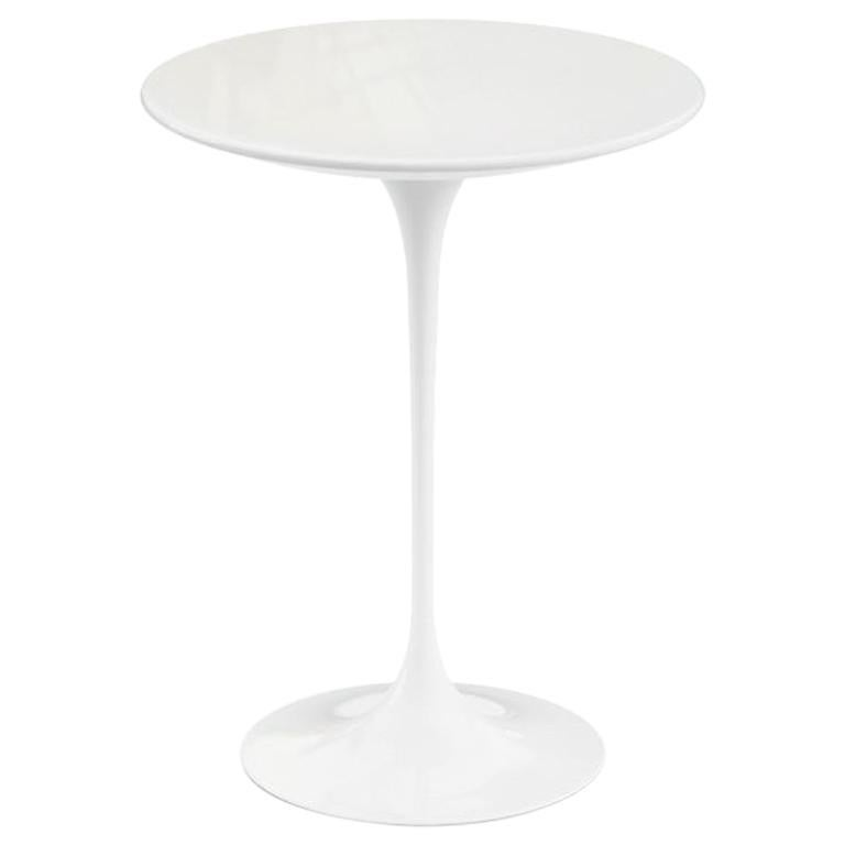 "Saarinen 16"" Side Table, Polished White Extra Marble Top & Black or White Base"
