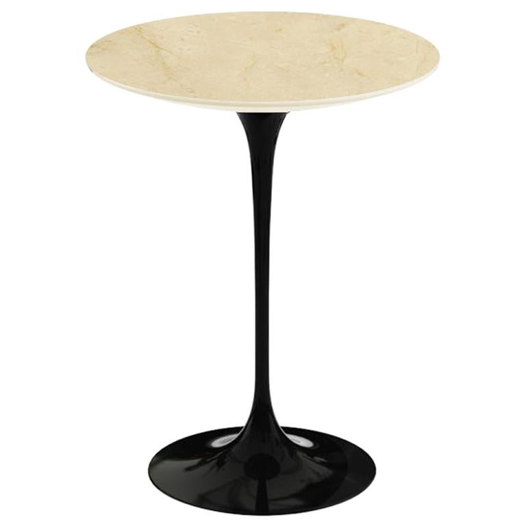 "Saarinen 16"" Pedestal Side Table, Satin Empire Beige Marble, Black or White Base For Sale"