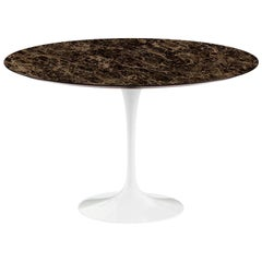 "Saarinen 47"" Dining Table, Polished Emperador Dark Marble & Black or White Base"