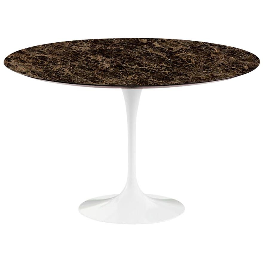 "Saarinen 47"" Dining Table, Satin Emperador Dark Marble & Black or White Base"