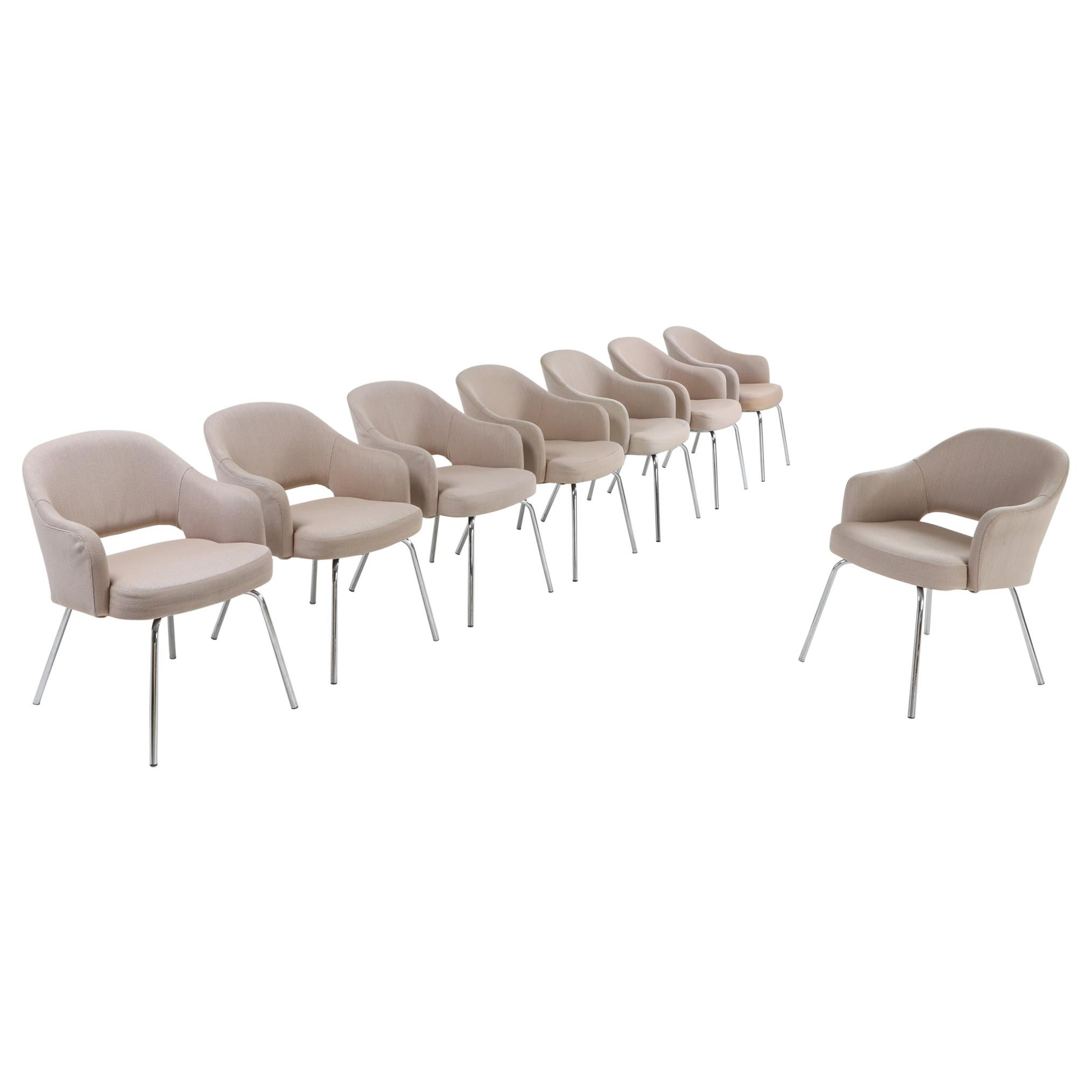 Saarinen Style Dining Chairs for Knoll, Set of Eight