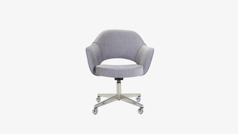 We have been restoring Saarinen Executive chairs for years in every fabric one can imagine, right in our very own workroom. We've restored these chairs using soft nuanced Maddison Bouclé from our Fabric Collection available in a refined color range.