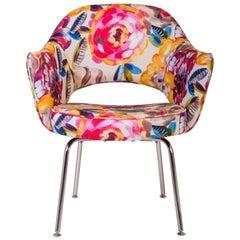 Saarinen Executive Armchair, Vintage Knoll, in new Italian Floral Fabric