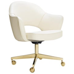 Saarinen Executive Arm Chairs in Crème Leather, Swivel Base, 24k Gold Edition
