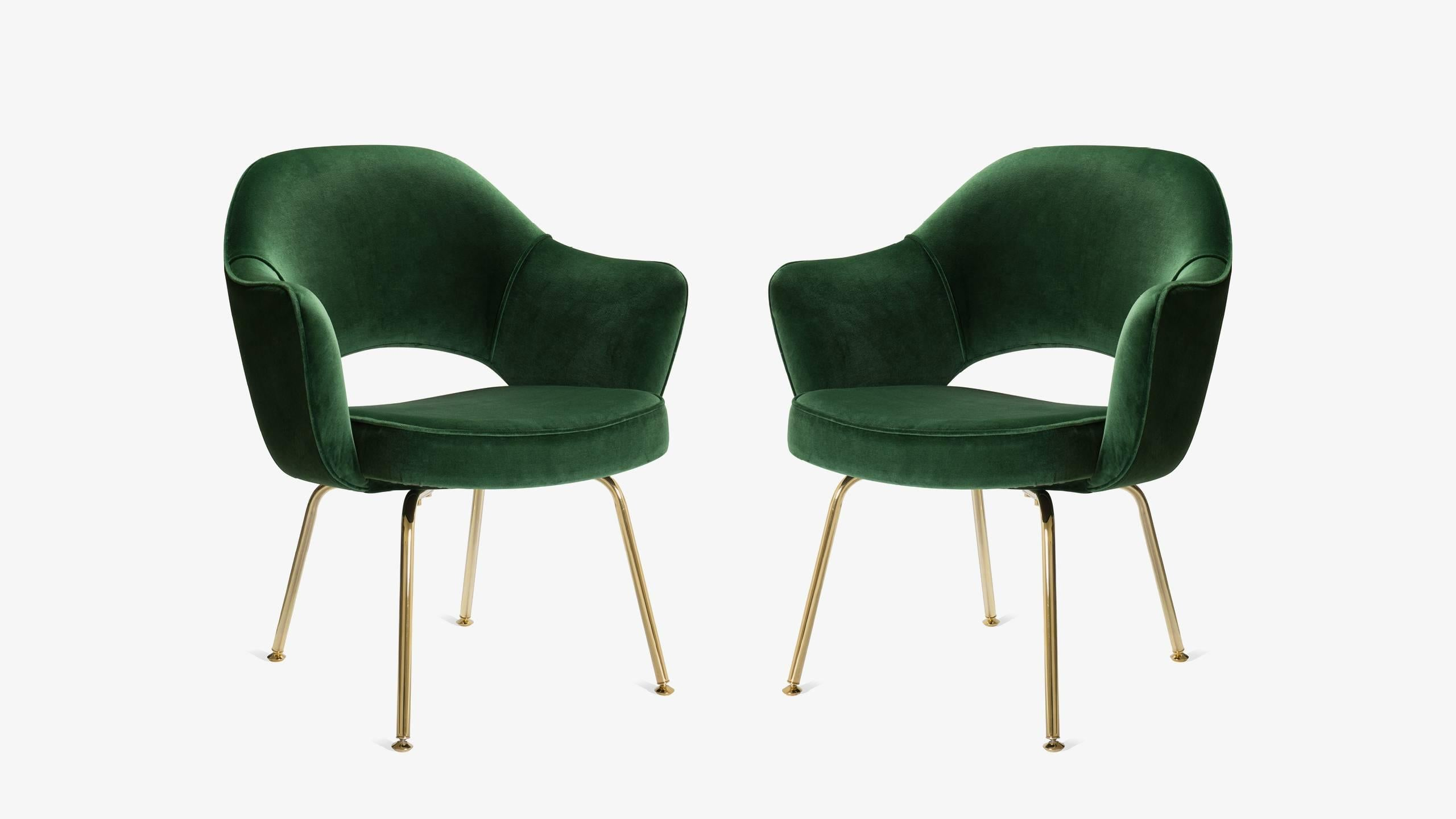 Saarinen Executive Arm Chairs In Emerald Velvet, 24k Gold Edition, Set Of 6  For Sale At 1stdibs