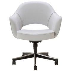Saarinen Executive Armchair in Fog Luxe Suede, Swivel Base
