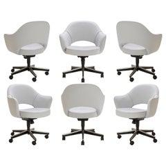 Saarinen Executive Armchair in Fog Luxe Suede, Swivel Base, Set of 6