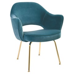 Saarinen Executive Armchair in Light Blue Velvet, 24-Karat Gold Edition