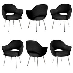 Saarinen Executive Armchairs in Black Weave, Set of Six