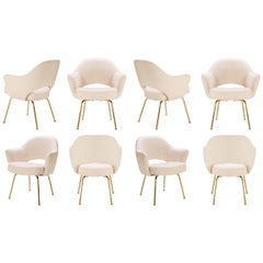 Saarinen Executive Armchairs in Bone Luxe-Suede, 24-Karat Gold Edition, Set of 8