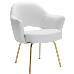 Saarinen Executive Arm Chairs in Dove Luxe Suede, 24k Gold Edition