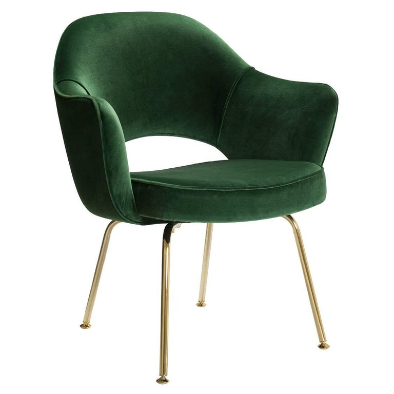 Saarinen Executive Arm Chairs in Emerald Velvet, 24k Gold Edition