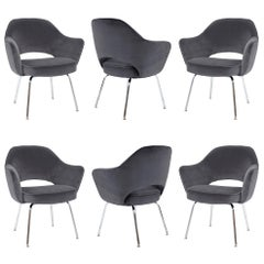 Saarinen Executive Armchairs in Gunmetal Velvet, Set of Six