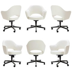 Saarinen Executive Armchairs in Ivory Basket Weave, Swivel Base, Set of Six