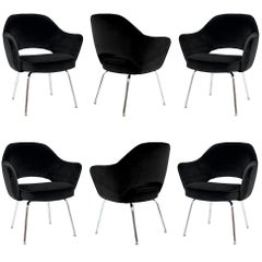 Saarinen Executive Armchairs in Noir Velvet, Set of Six